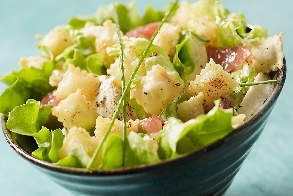 Recette de salade d 39 t aux ravioles frites saint jean for Entree froide ete